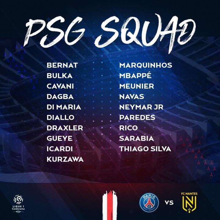 巴黎公布对阵南特的比赛大名单:内马尔、姆巴佩领衔