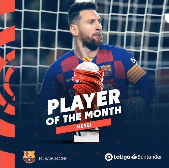 当选11月联赛最佳球员后,梅西生涯第六次荣获西甲月最佳