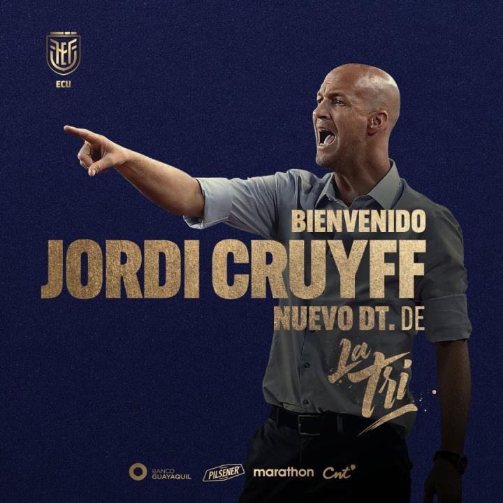 官方:小克鲁伊夫出任厄瓜多尔国家队主教练