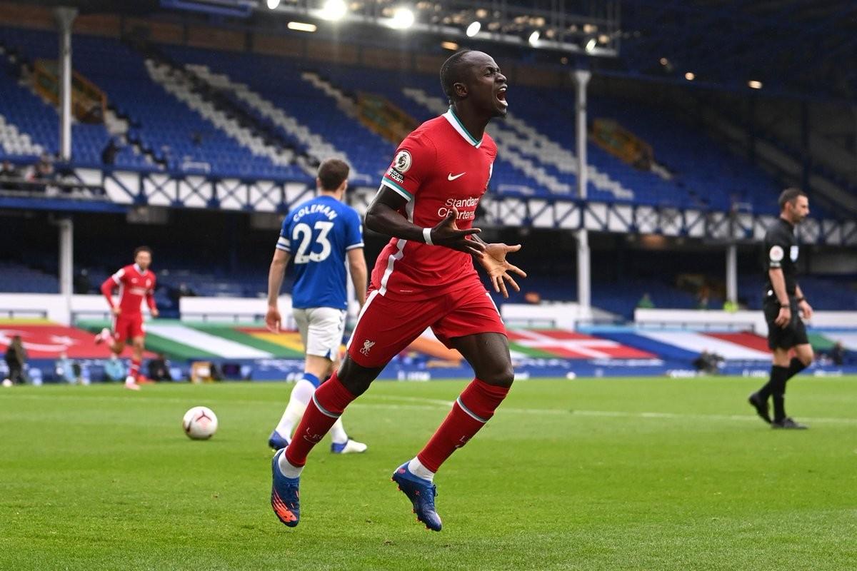 马内打入利物浦在英超默西赛德郡德比的最快进球