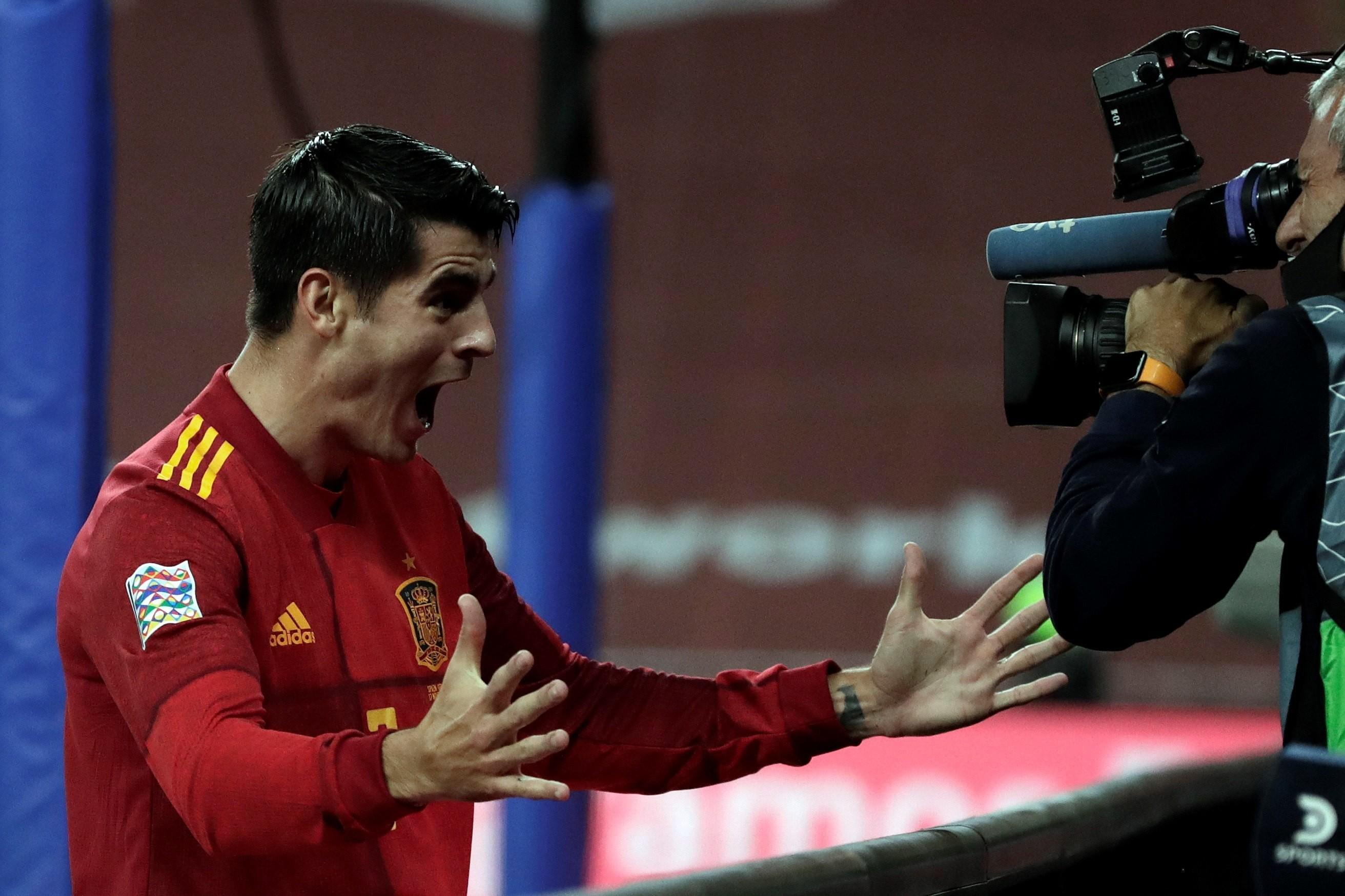 莫拉塔罗德里双双破门,西班牙以14名得分手位列欧国联榜首